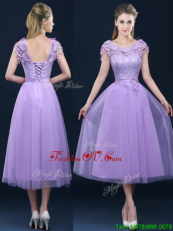 Affordable New Style Cap Sleeves Lavender Bridesmaid Dress with Lace and Appliques