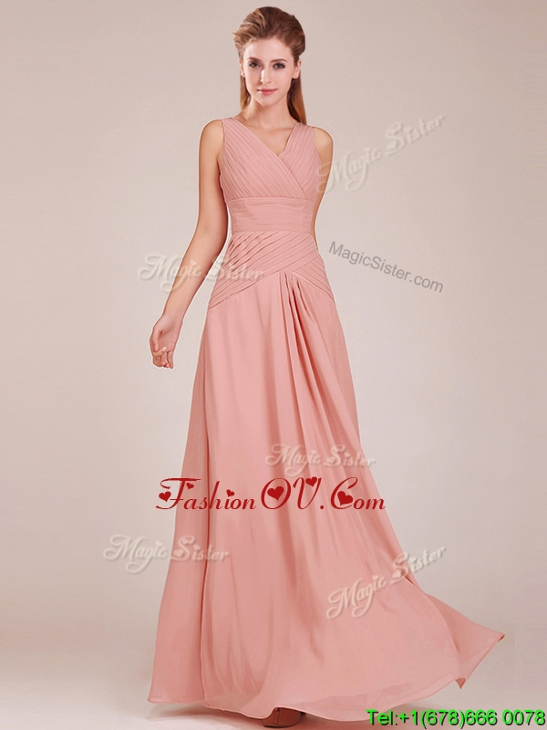 Affordable Ruched Decorated Bodice Peach Bridesmaid Dress with V Neck