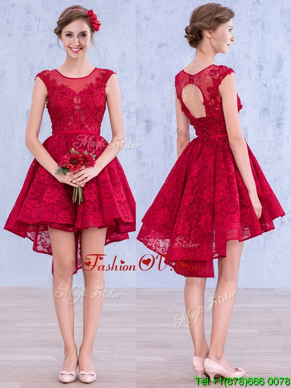 Affordable See Through Scoop High Low Wine Red Bridesmaid Dress with Lace