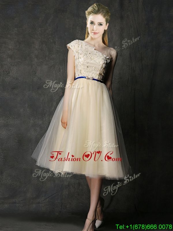 Elegant One Shoulder Sashes and Appliques Bridesmaid Dress in Champagne