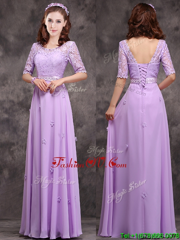 Exclusive Scoop Half Sleeves Lavender Bridesmaid Dress with Appliques and Lace
