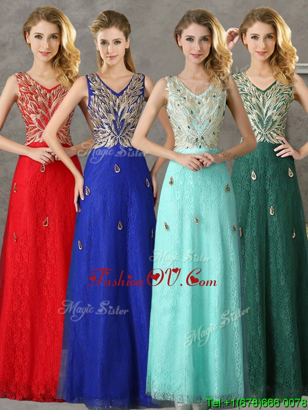 Fashionable V Neck Long Bridesmaid Dress with Appliques and Beading