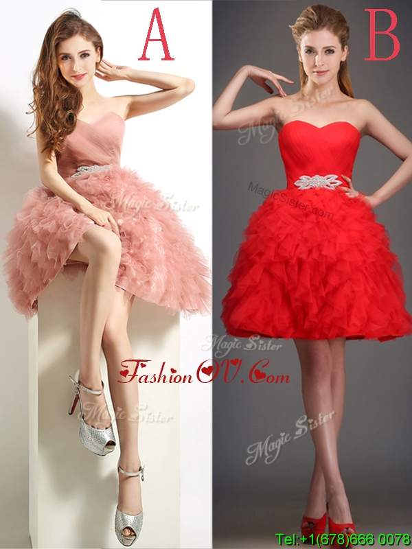 Lovely Beaded and Ruffled Puffy Skirt Bridesmaid Dress in Tulle