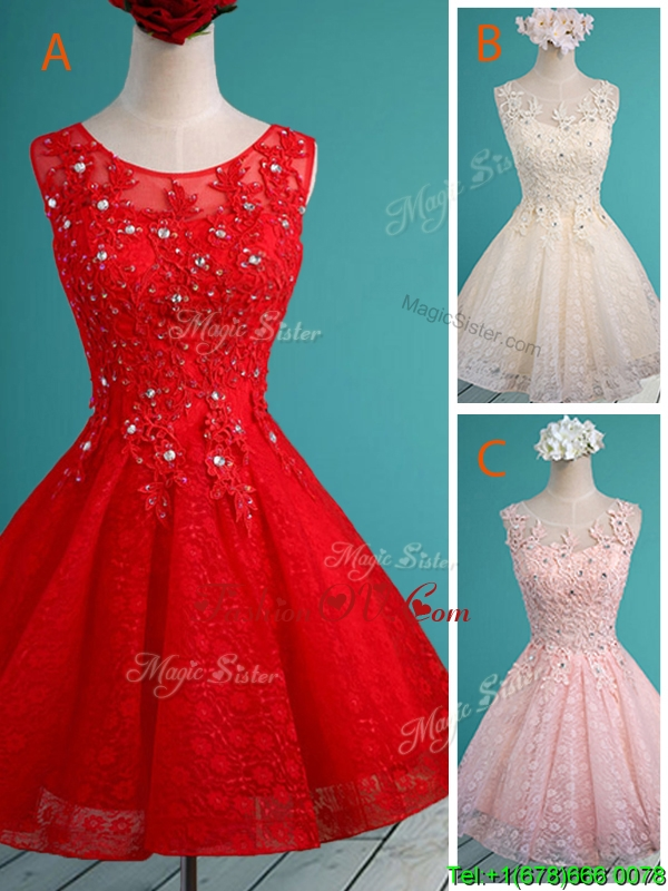 Luxurious See Through Scoop Short Bridesmaid Dress with Beading and Appliques