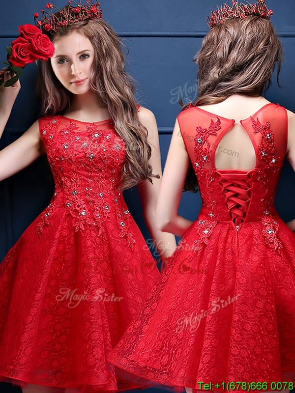 Classical Scoop Red Mother Groom Dress with Appliques and Beading