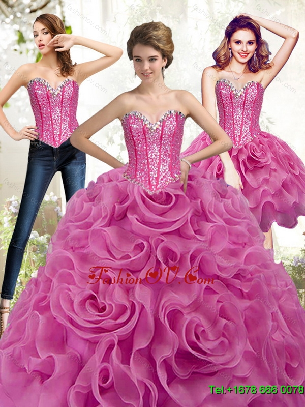 Designer Fuchsia 2015 Quinceanera Dresses with Beading and Rolling Flowers