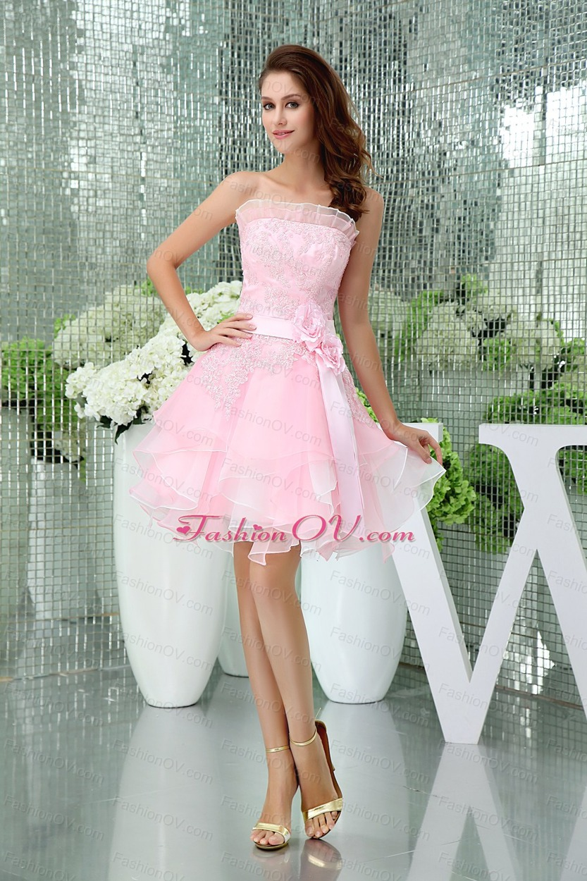 A-line Baby Pink Strapless Ruffles Lace Sash Prom Dress