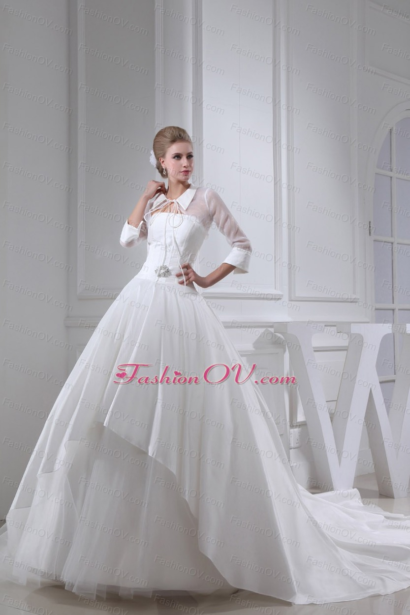 Beading Ball Gown Strapless Cathedral Train Wedding Dress