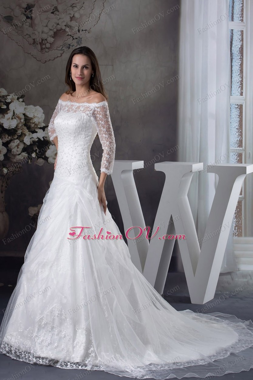 Off The Shoulder 3/4 Sleeves Lace A-line Wedding Dress