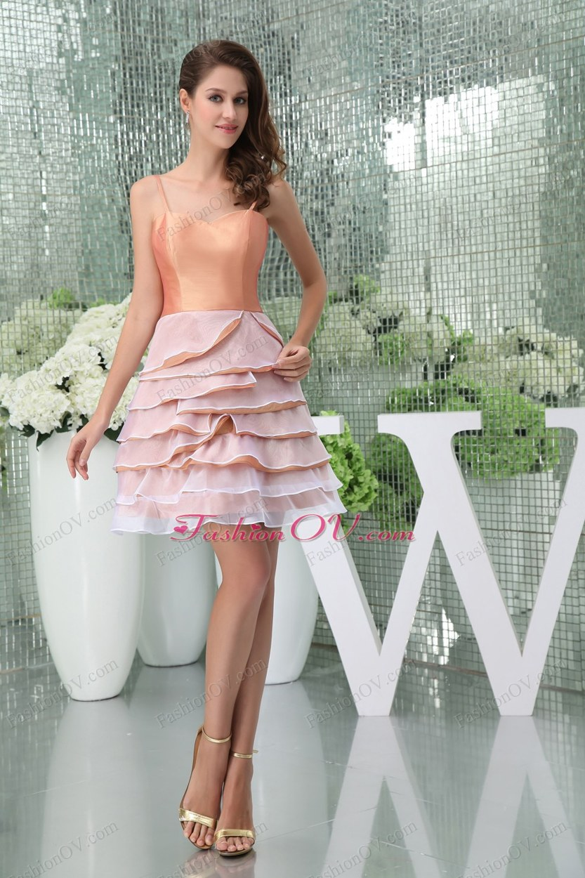 Ruffled Layers A-Line Straps Short Prom Dress in Pink