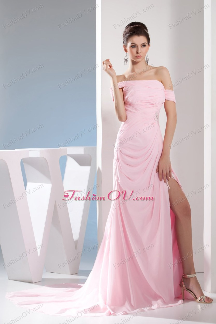 Empire Off the Shoulder Court Train Baby Pink Prom /Celebrity Dress