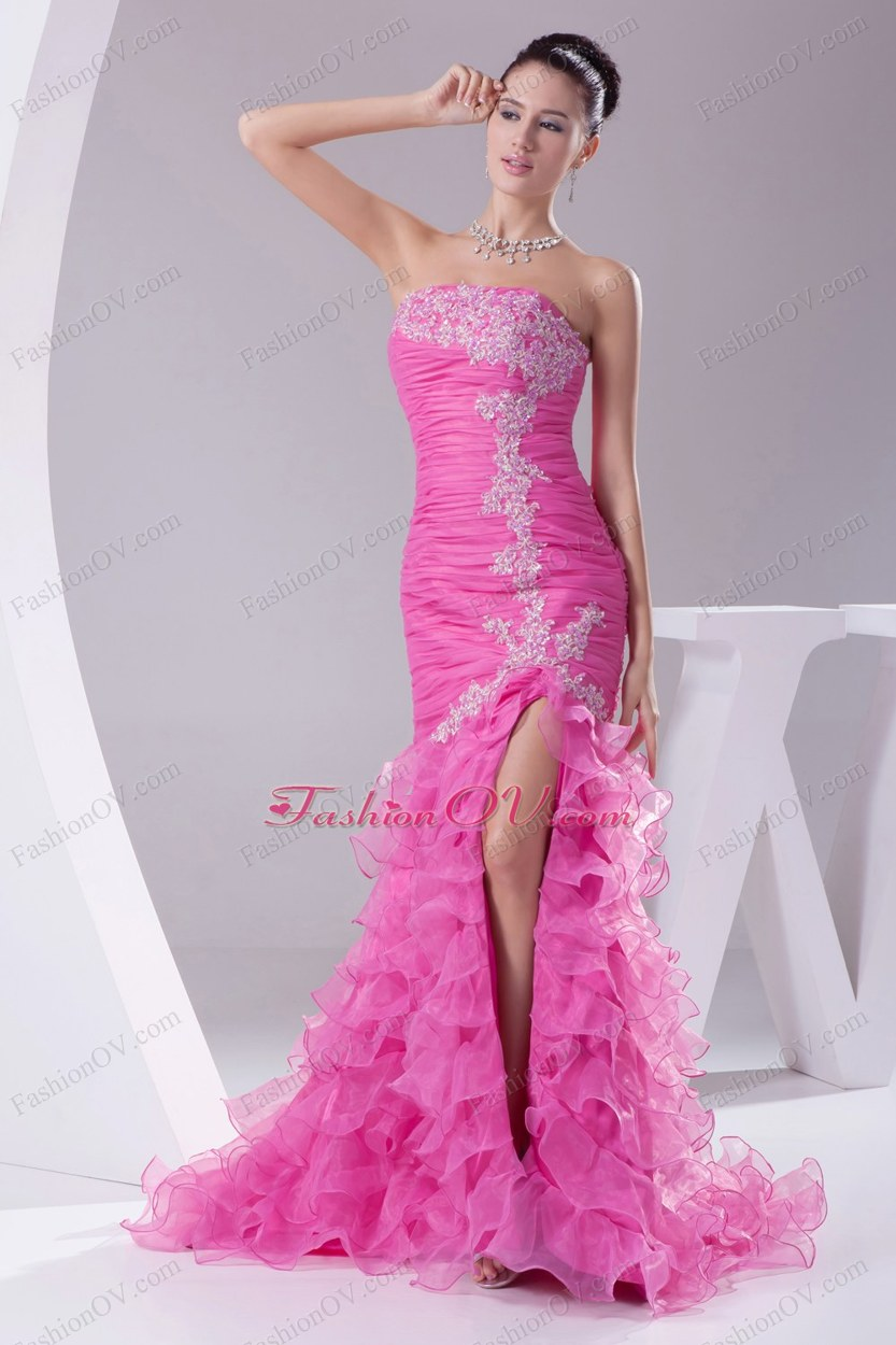 Mermaid Hot Pink Appliques Ruching Ruffled Layers Prom Dress
