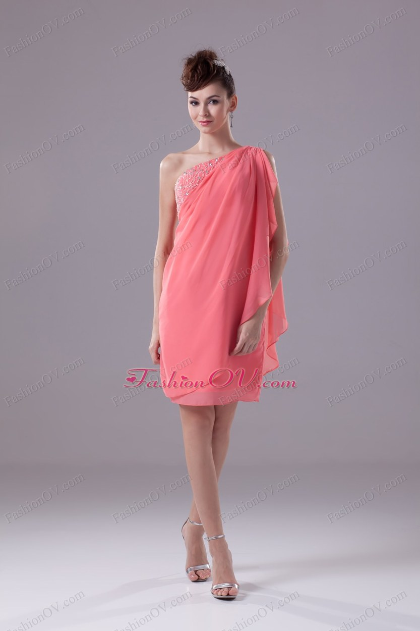 Watermelon Beading One Shoulder Knee-length Prom Dress