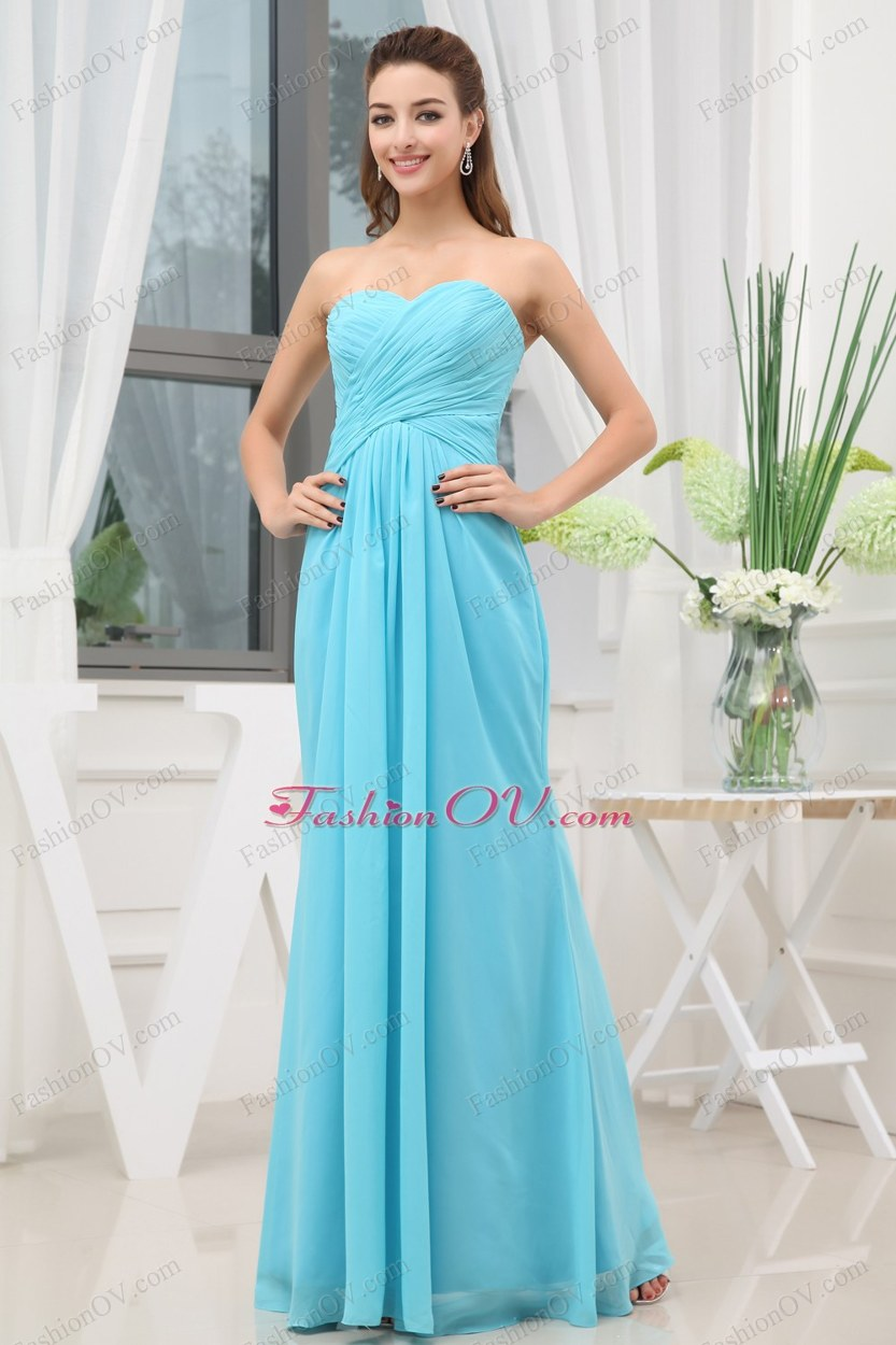 Aqua Blue Ruching Long Empire Prom Dress