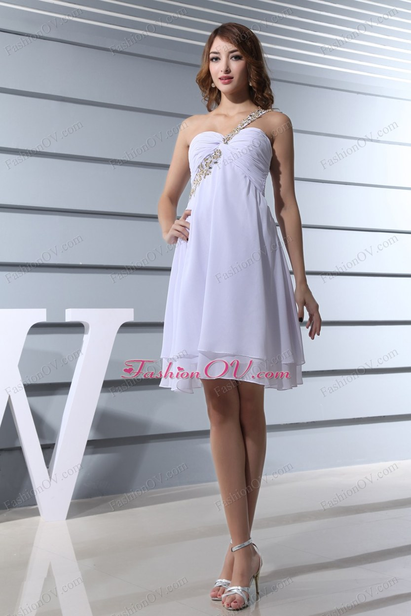 Beading One Shoulder Knee-length Prom Dress