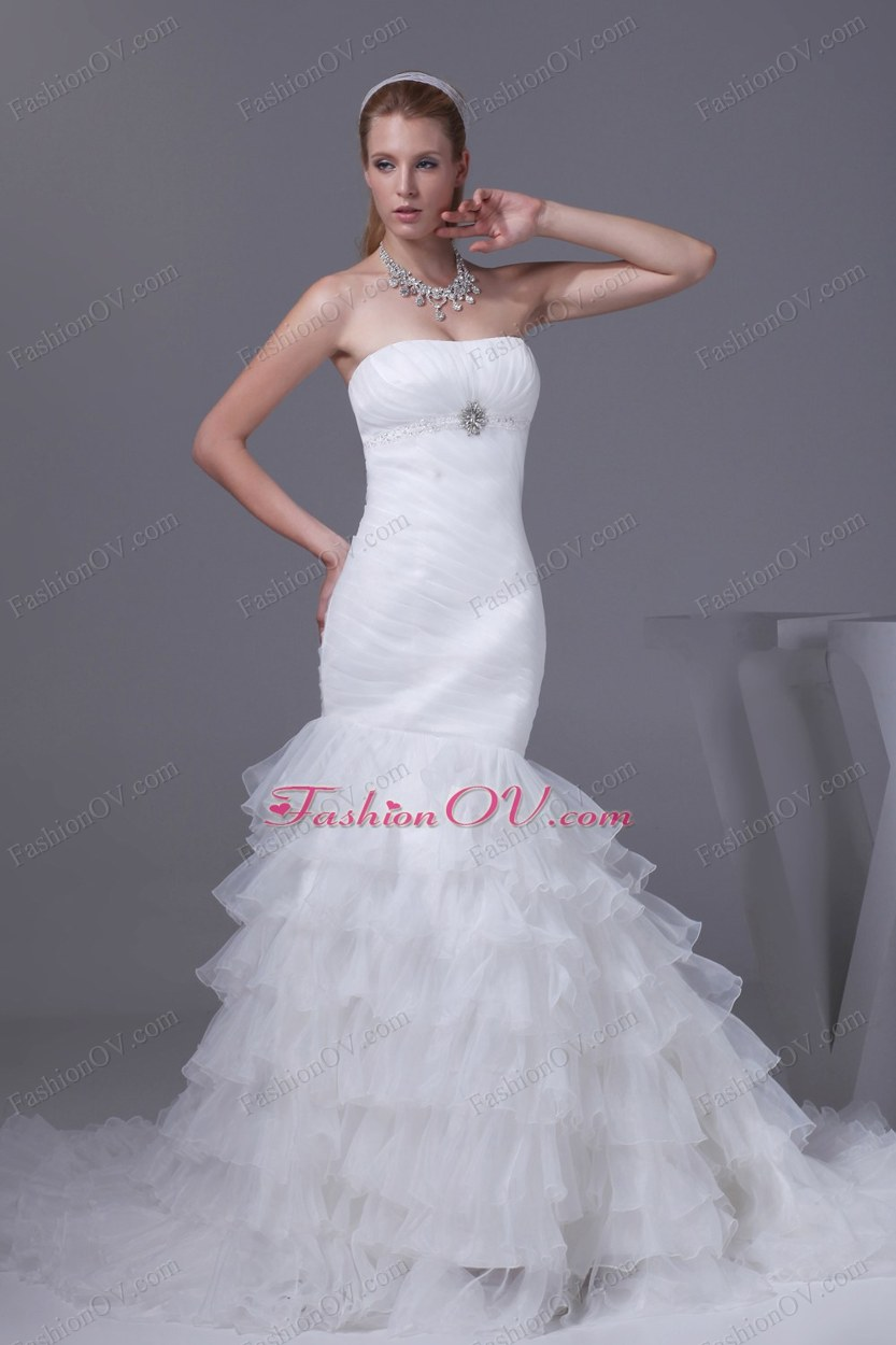 Beading Ruffled Layers Mermaid Strapless Wedding Dress