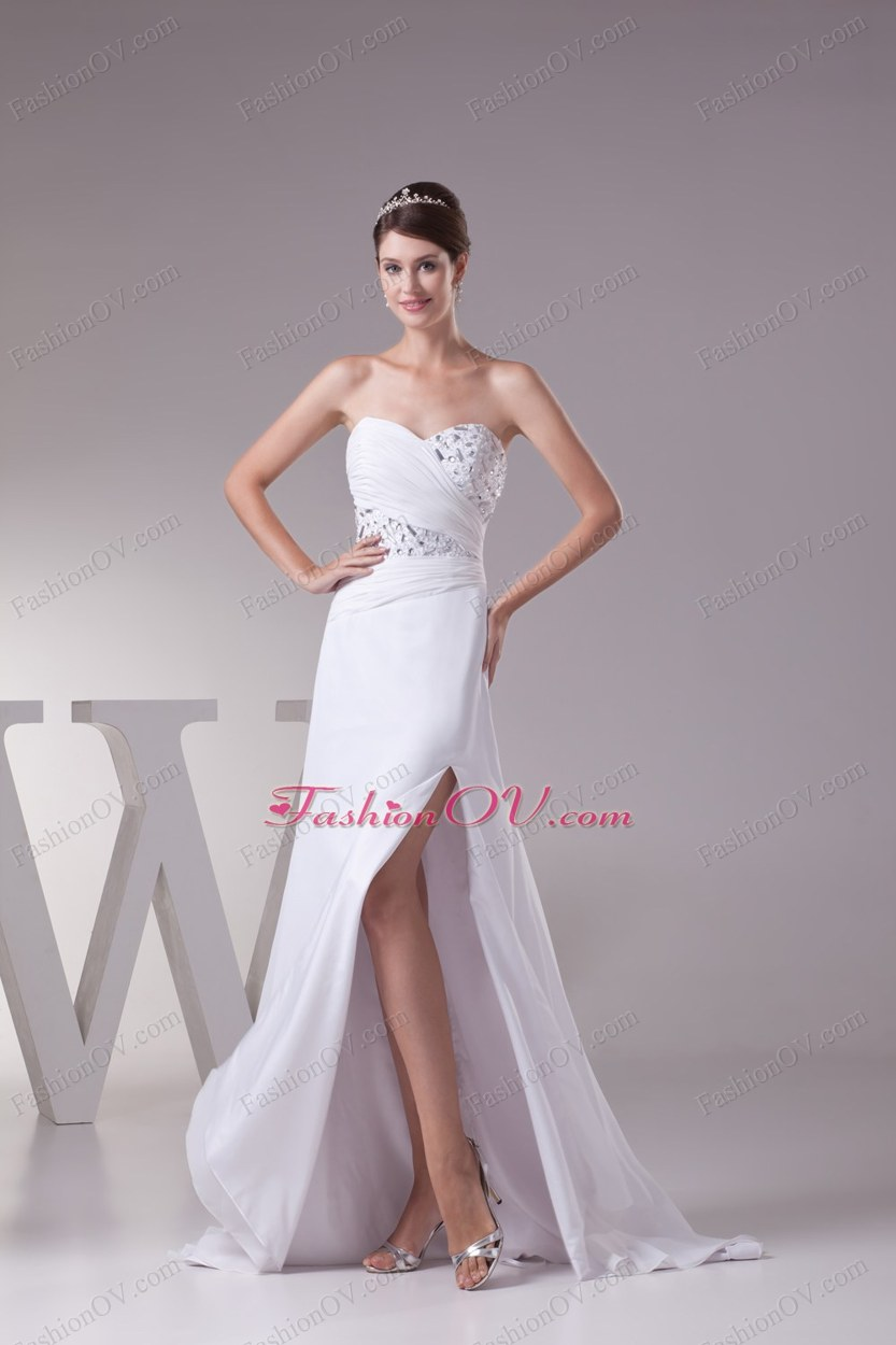 High Slit Fashionable Beaded Sweetheart Empire Prom Dress