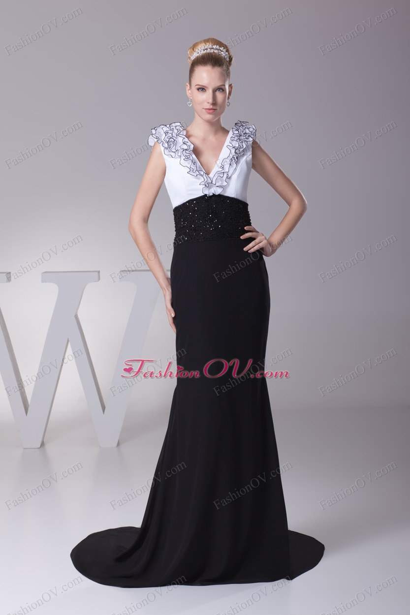 Mermaid V-neck Ruffles Brush Train Prom Dress
