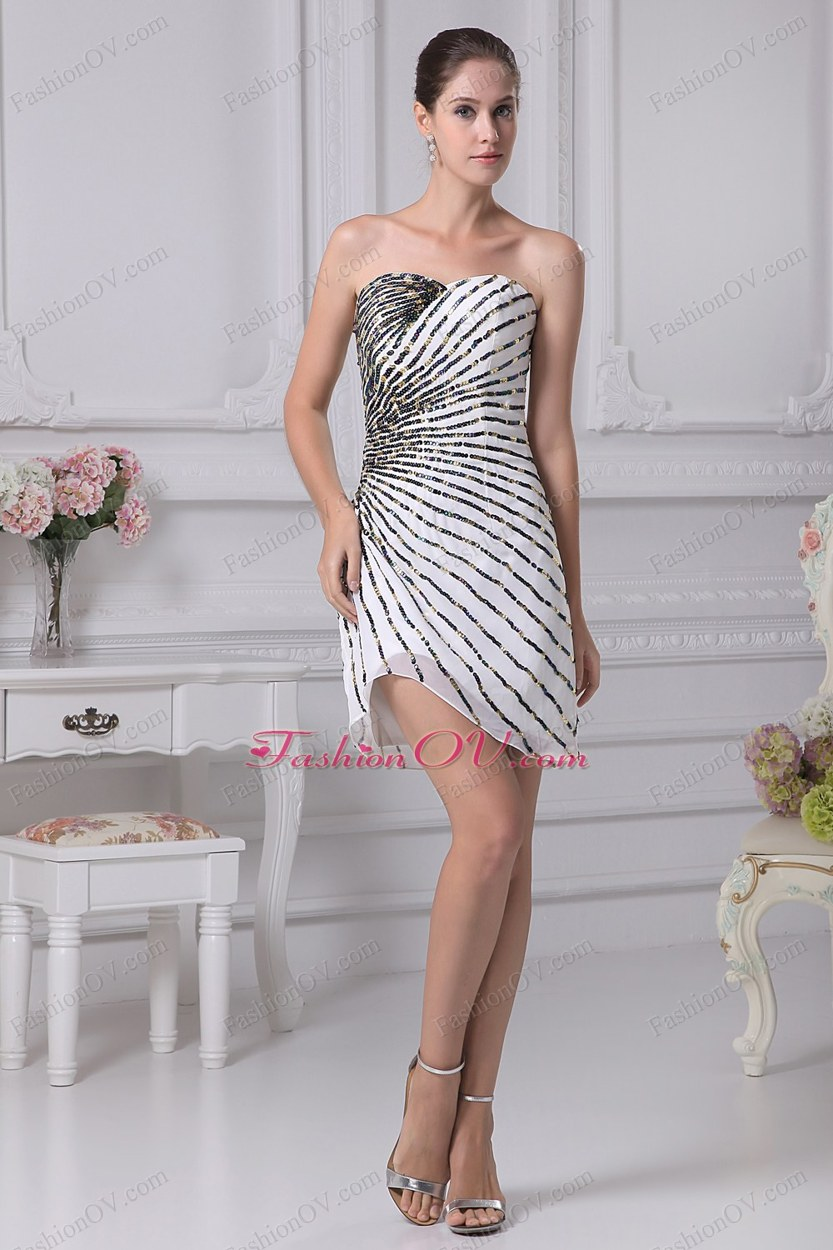 Mini-length Sweetheart Sequin Column Prom Dress