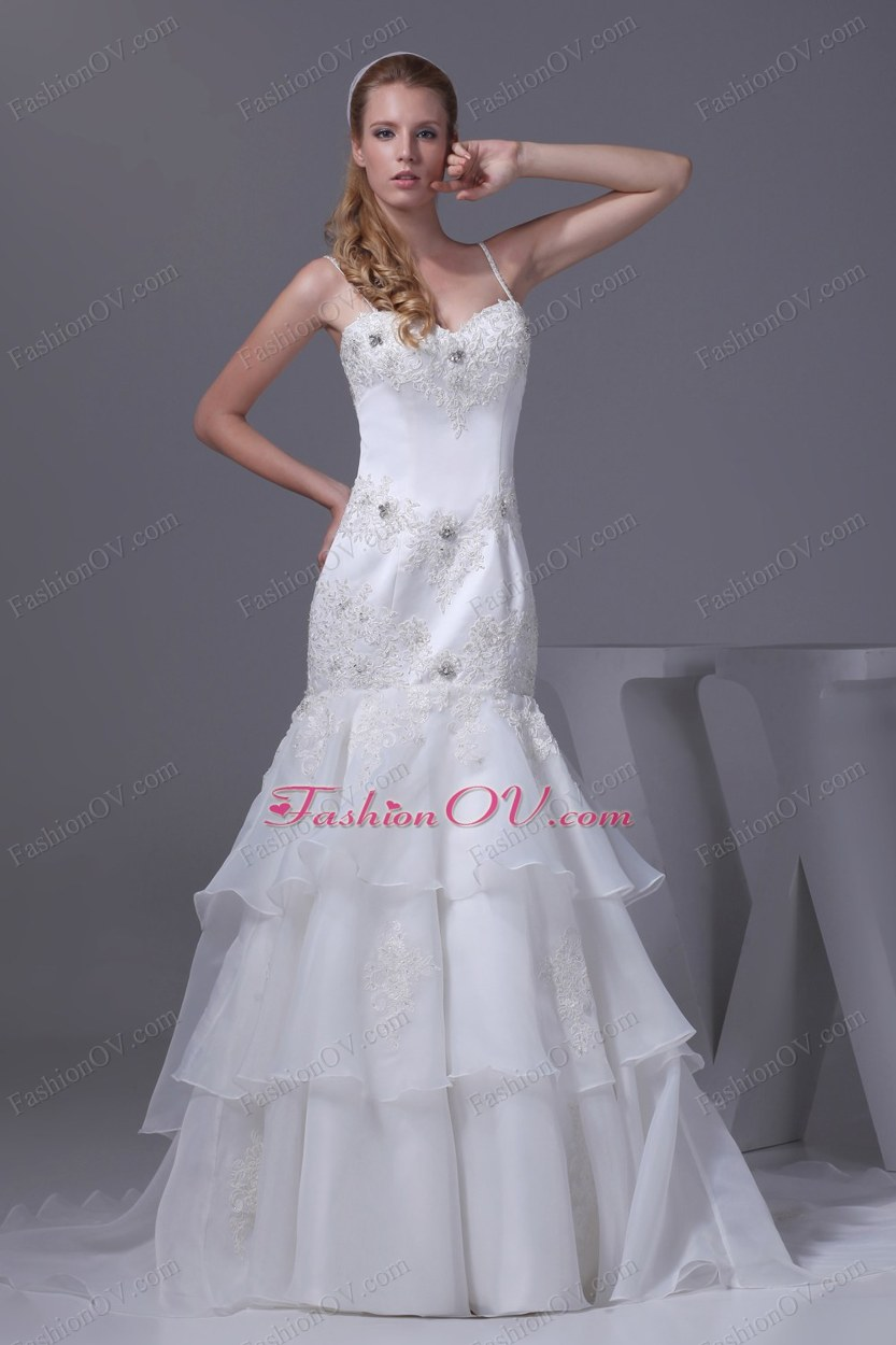 Spaghetti Straps Appliques Brush Train Wedding Dress