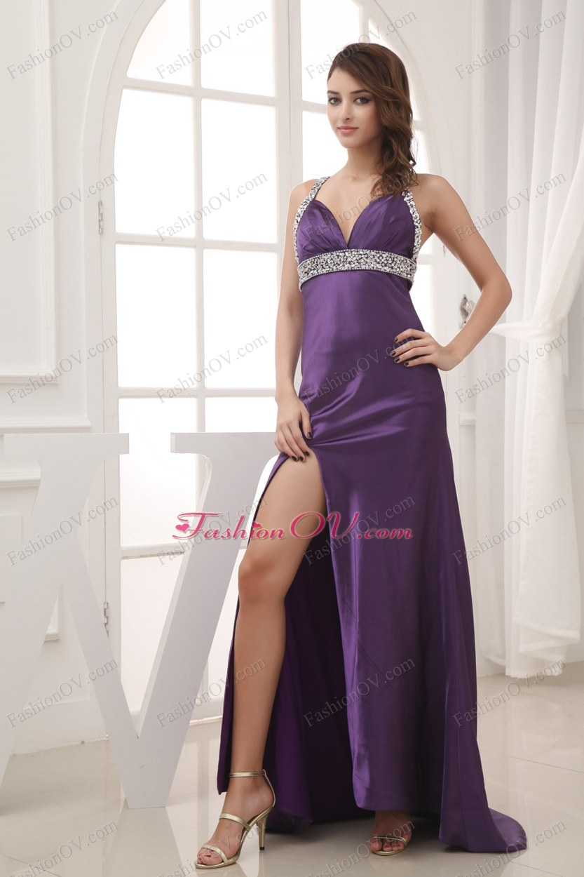 Beaded Decorate Shoulder Halter Top Prom Dress With Cross Criss Back