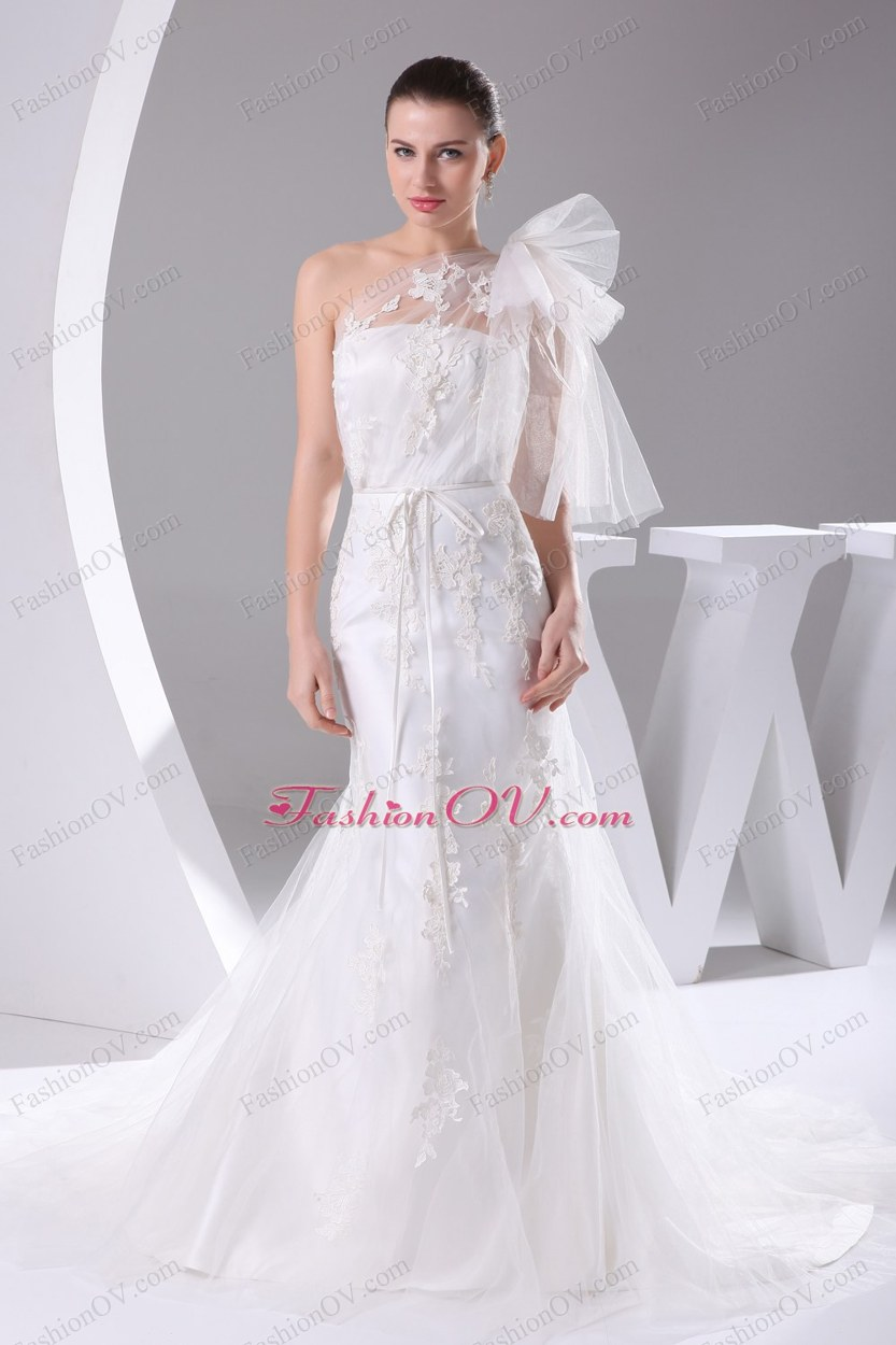 One Shoulder Mermaid Sash Brush Train Wedding Dress