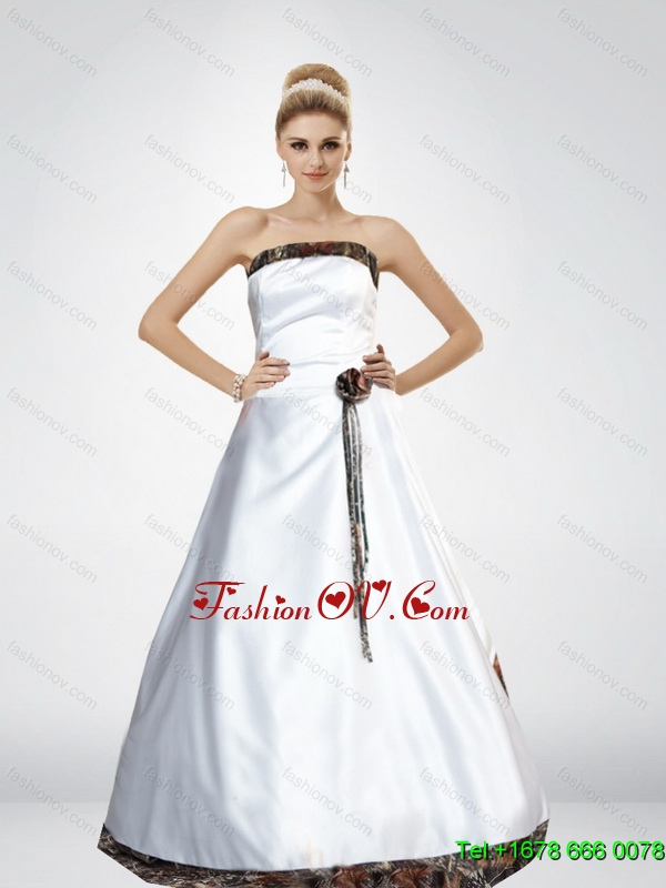 Wonderful A Line Hand Made Flower Camo Wedding Dresses with Strapless
