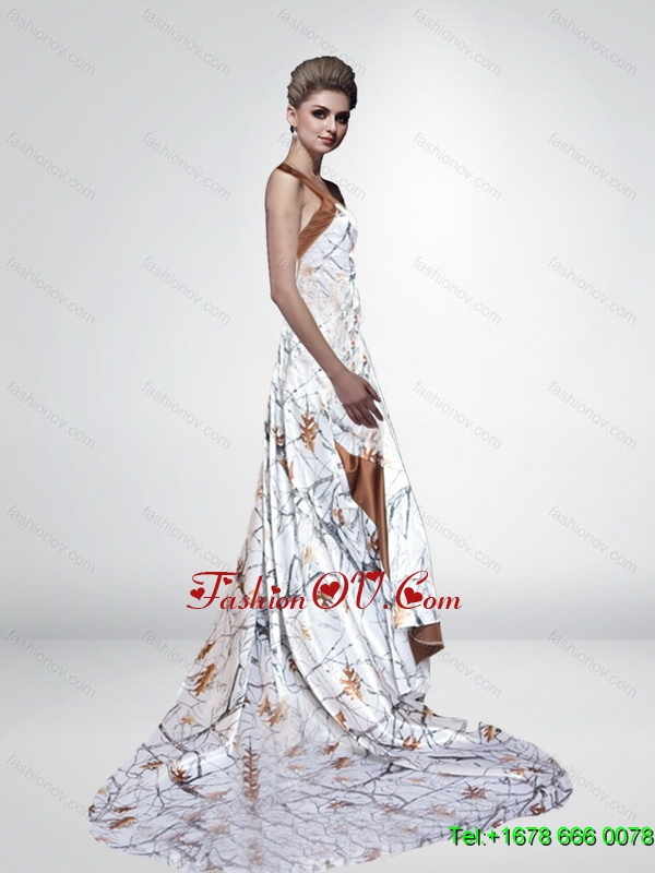 2015 Classical One Shoulder Camo Wedding Dresses with Court Train