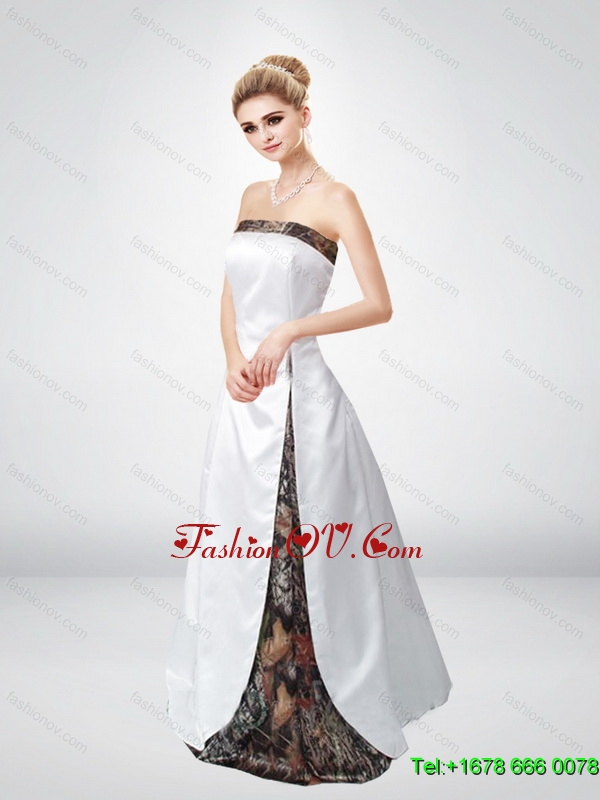 2015 Multi Color A Line Lace Up Camo Wedding Dresses