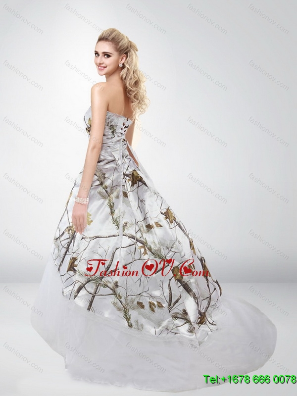 Fashionable Strapless Camo Wedding Dresses with Brush Train