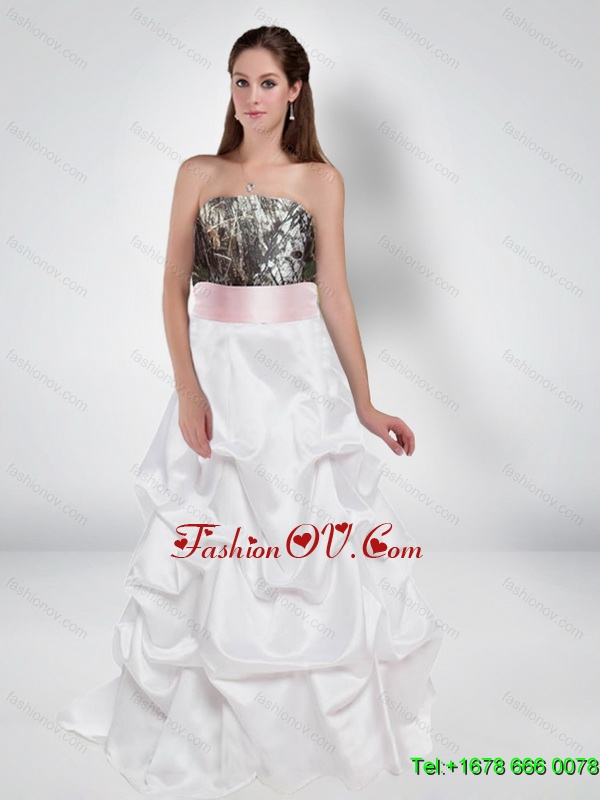 Feminine A Line Strapless Camo Wedding Dresses with Bowknot