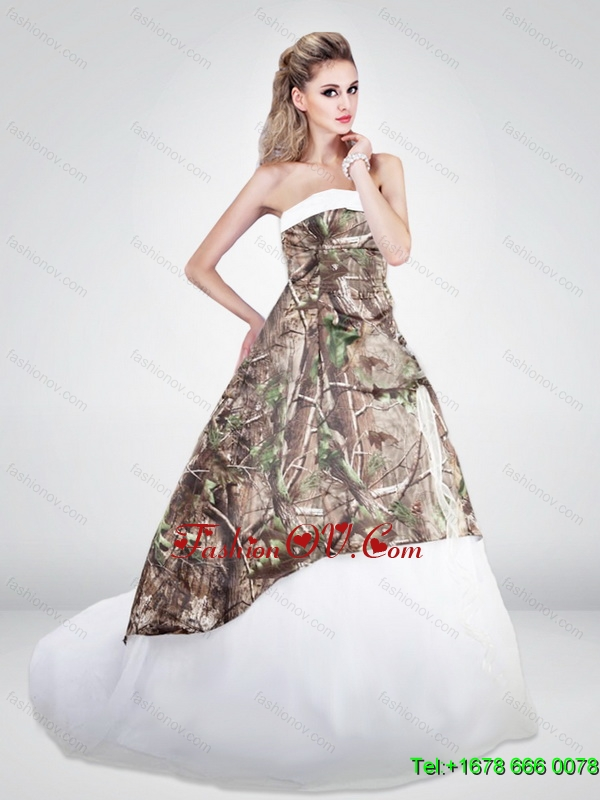 Luxurious A Line Strapless Camo Wedding Dresses with Brush Train
