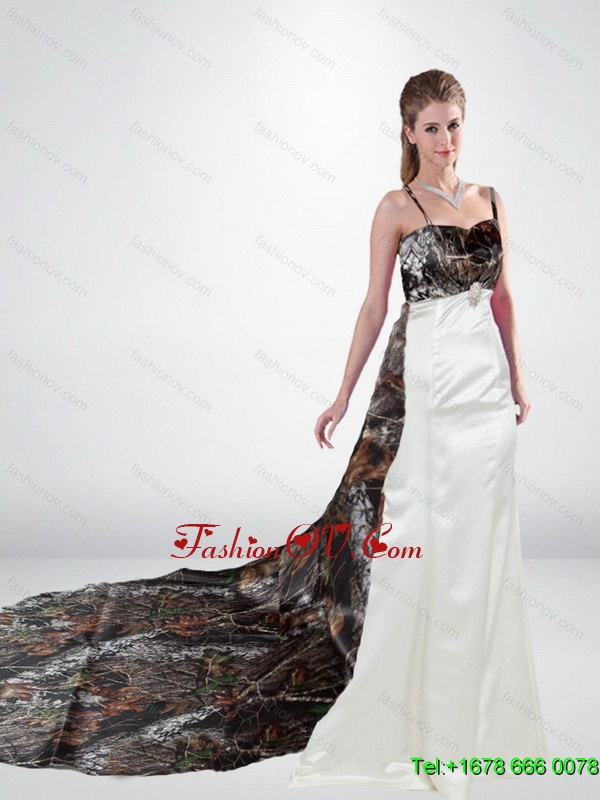 Romantic Column Watteau Train Camo Wedding Dresses in Multi Colorses