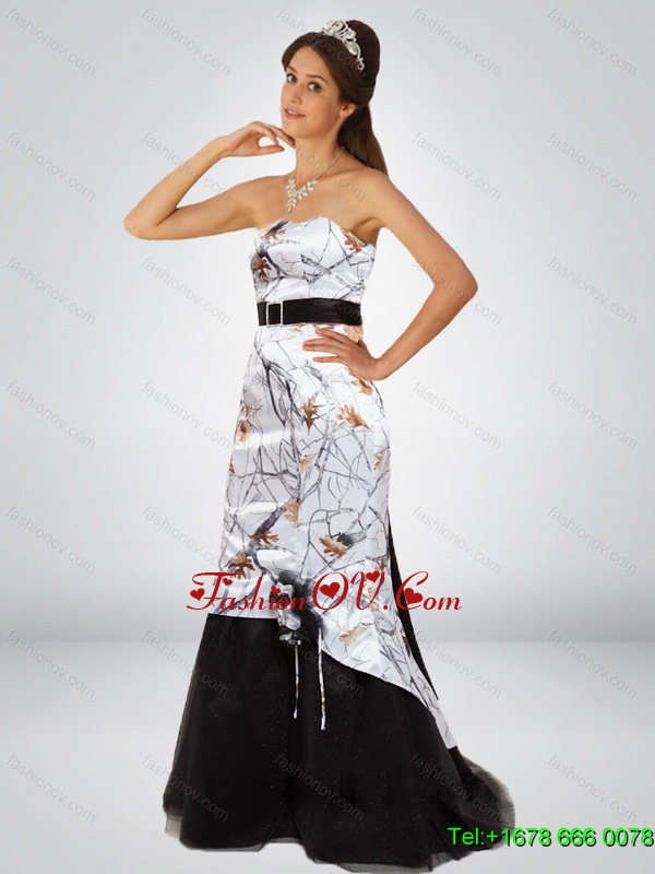 Dynamic Column Camo Prom Dresses with Hand Made Flower and Sashes