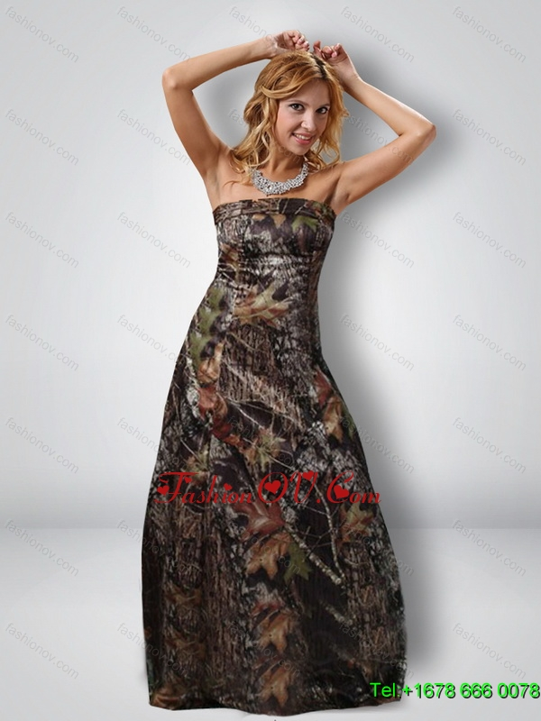 Fashionable 2015 Column Strapless Camo Prom Dresses in Multi Color