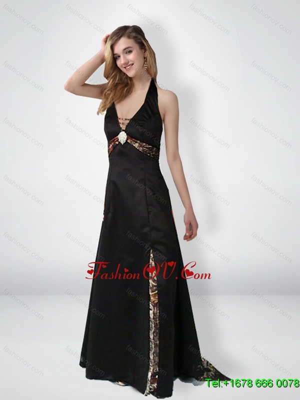 Simple Empire Halter Top Beaded Camo Prom Dresses with Brush Train