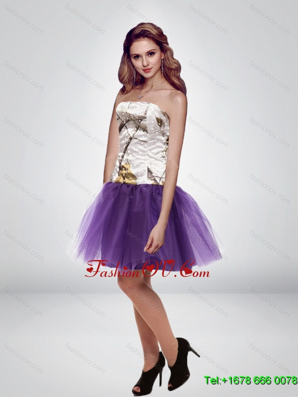 The Super Hot Mini Length Strapless Camo Prom Dresses in Multi Color