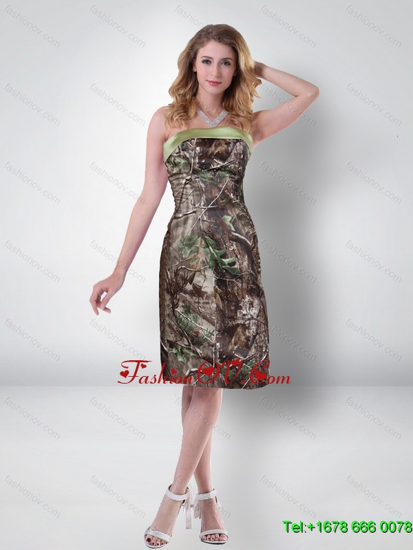 Elegant Empire Strapless Knee Length Camo Prom Dresses in Multi Color