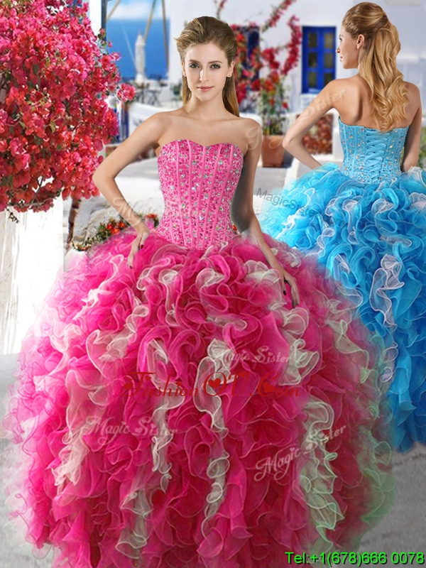 Romantic Rose Pink and White Organza Quinceanera Dress with Beading and Ruffles