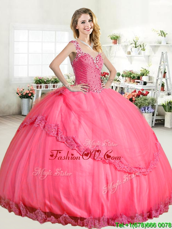 Lovely Straps Big Puffy Quinceanera Dress with Beading and Appliques