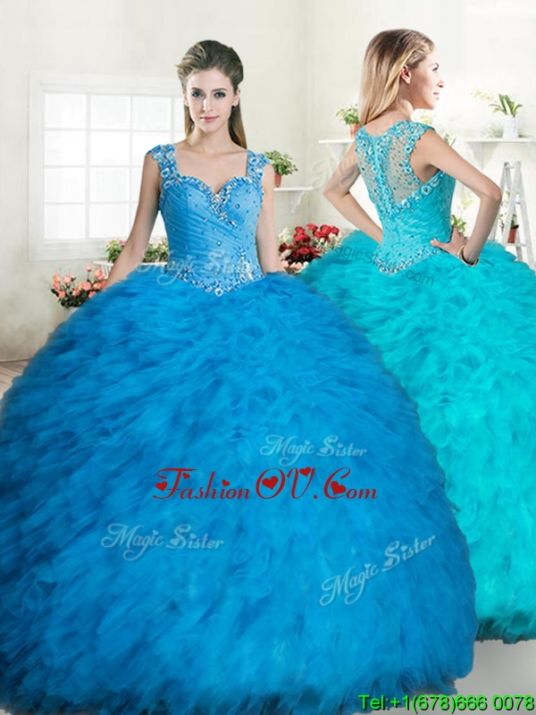 Exclusive Straps Tulle Quinceanera Dress with Beading and Ruffles