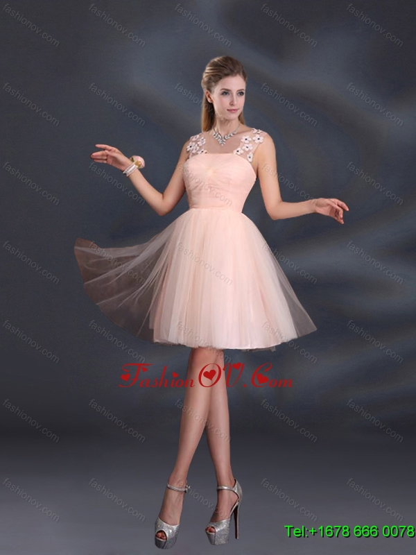 2015 Straps Appliques Dama Dresses in Baby Pink