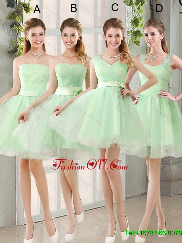 Elegant Ruching Organza A Line Mini Length Dama Dress with Lace Up