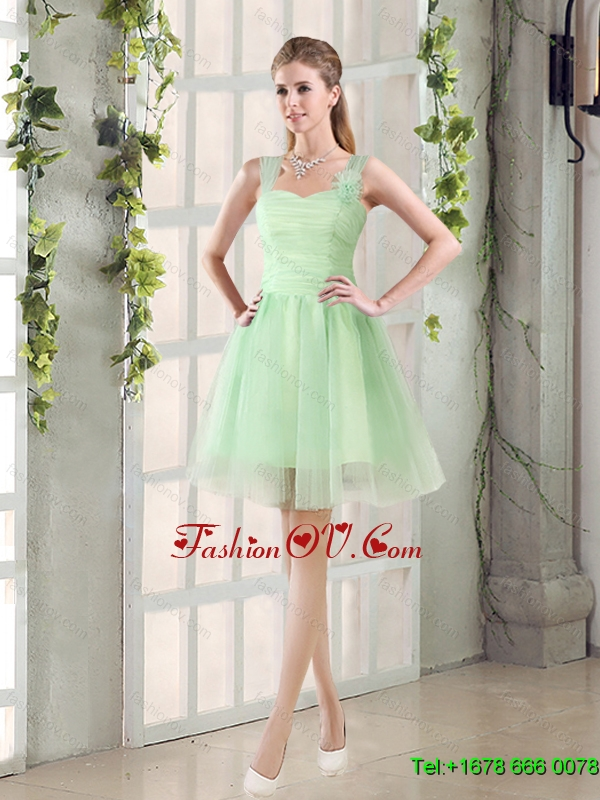 Elegant Ruching Organza A Line Straps Dama Dress with Lace Up