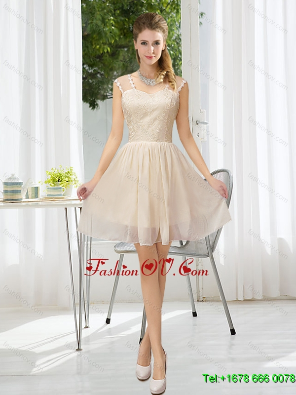 Elegant Straps Lace Sleeveless Dama Dress with Mini Length