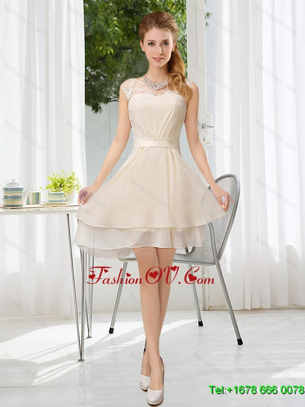 New Arrival Bateau Belt Mini Length Dama Dress with Lace Up