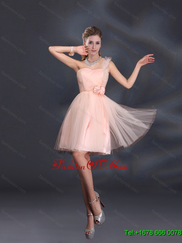 New Arrival One Shoulder A Line Tulle Dama Dresses with Hand Made Flowers