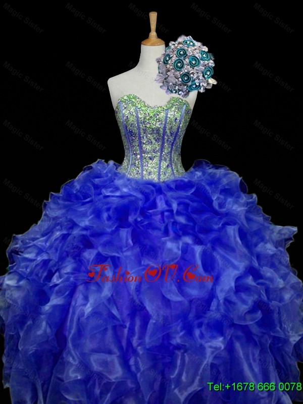 Custom Made Sweetheart Blue Quinceanera Dresses with Sequins and Ruffles for 2015