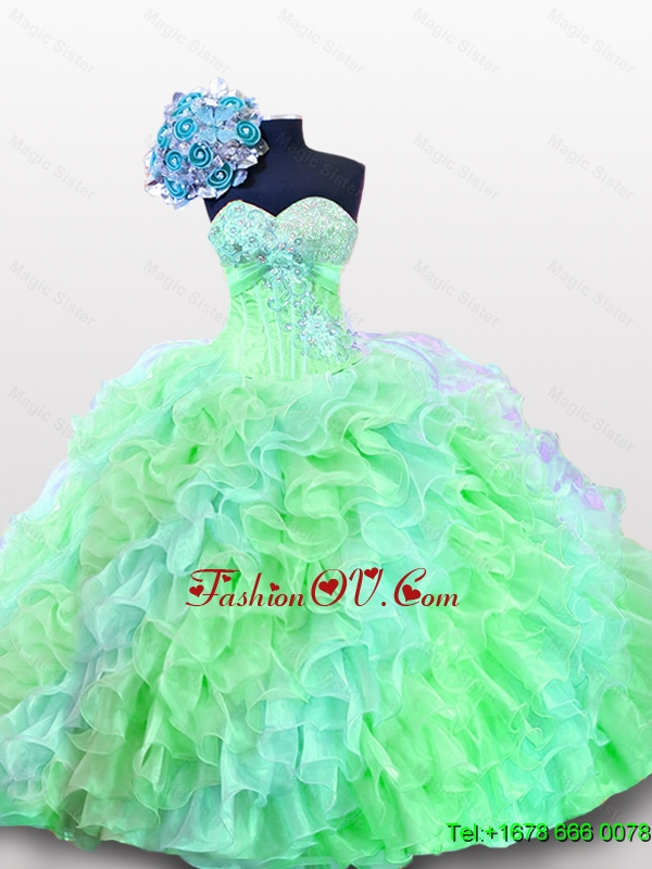 Custom Made Sweetheart Quinceanera Dresses with Appliques and Sequins for 2015