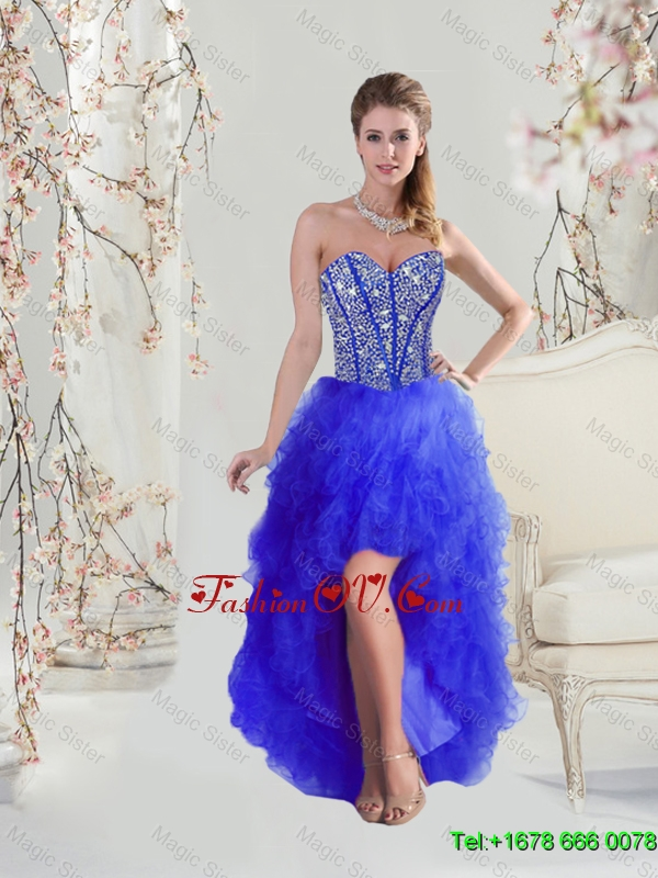 2016 Cheap Beaded and Ruffles High Low Prom Dresses in Royal Blue
